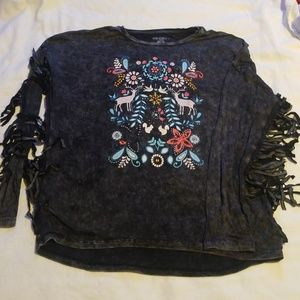 Adorable black and Gray acid washed girl's blouse